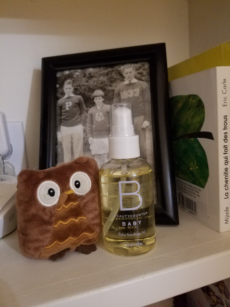Better Beauty Vermont Beautycounter Baby Oil with owl and relatives