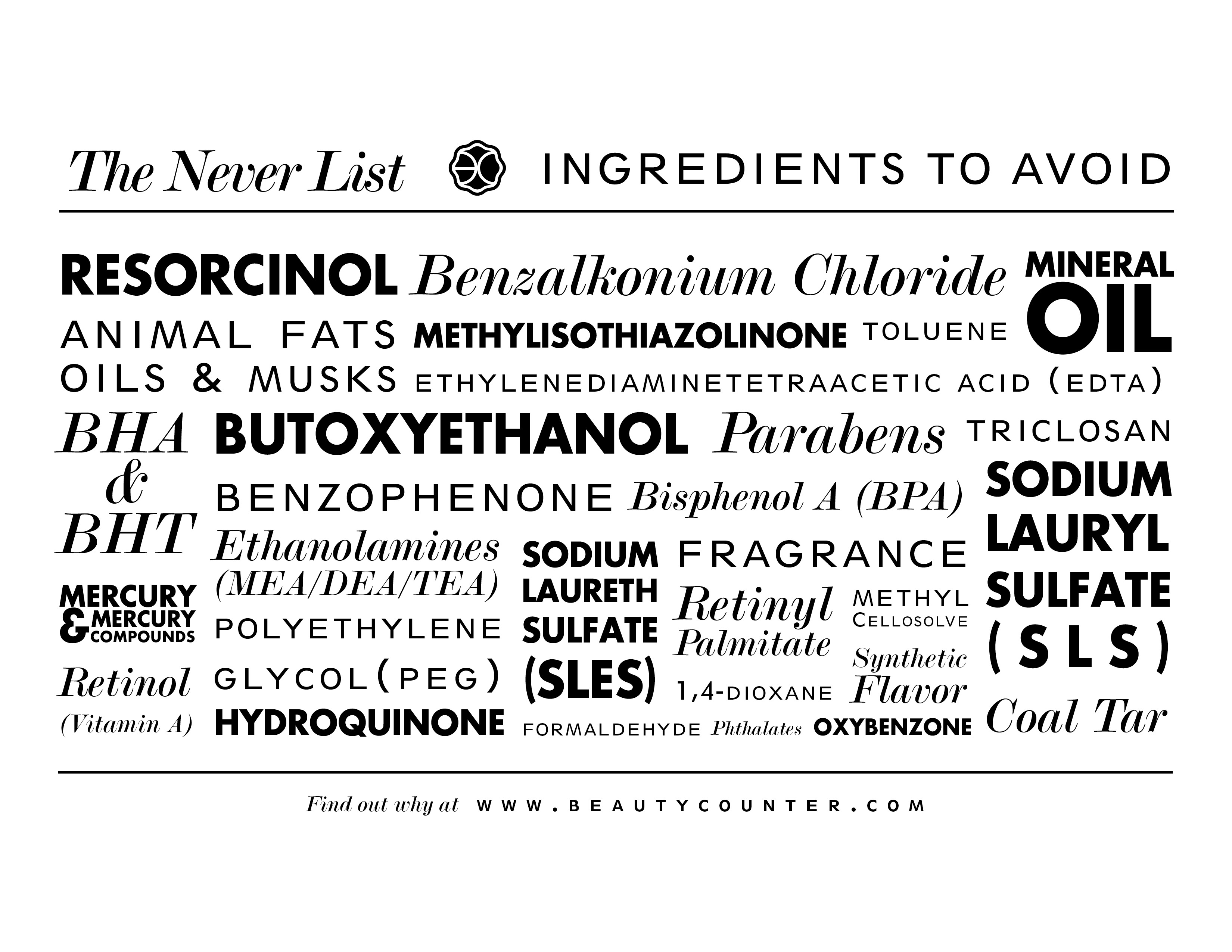 Better Beauty Vermont Beautycounter Never List