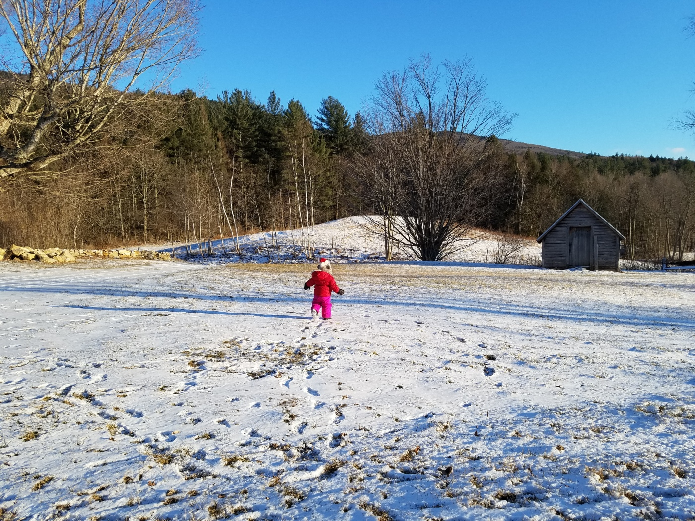 Better Beauty Vermont Toddler running in snow