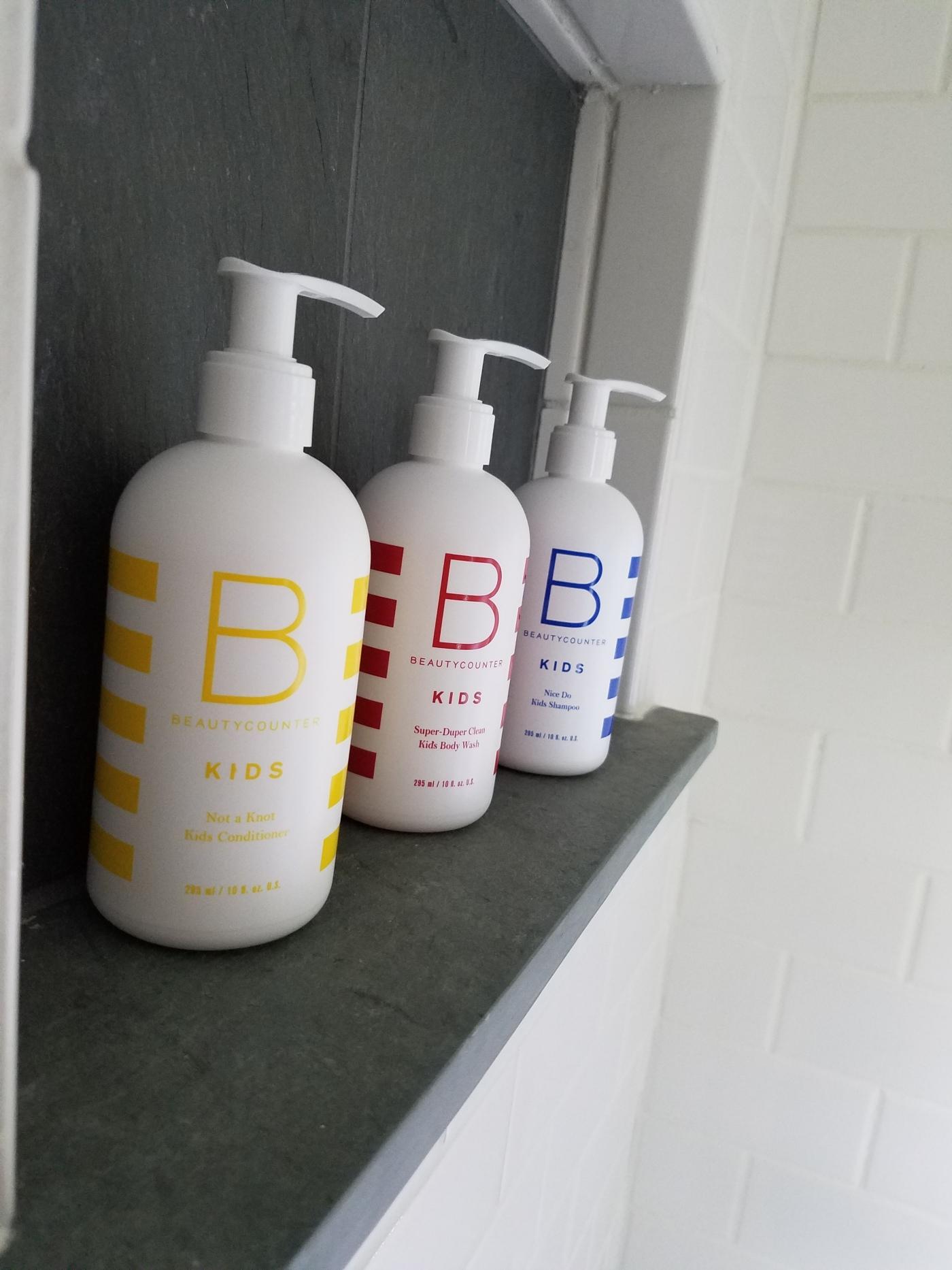 Better Beauty Vermont Beautycounter Kid's Counter on shower shelf