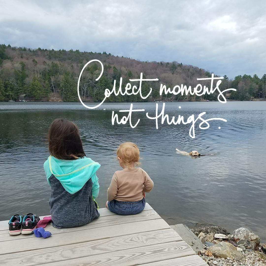Better Beauty Vermont collect moments not things kids on a dock dog in the water