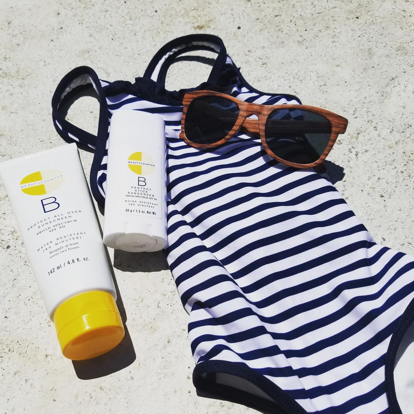 Better Beauty Vermont Beautycounter sunscreen toddler swimsuit sunglasses